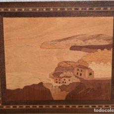Varios objetos de Arte: CUADRO PAISAJE HECHO MARQUETERIA MADERA 23 X 19. Lote 231311950