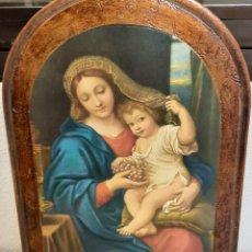 Varios objetos de Arte: RETABLO DE MADERA CON LAMINA VIRGEN CON NIÑO 27 X 35. Lote 231317600