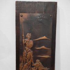 Varios objetos de Arte: PRECIOSO CUADRO DE DON QUIJOTE Y SANCHO, REPUJADO, 45X21CM. Lote 231653105