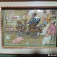 Varios objetos de Arte: BONITO CUADRO ESMALTE DE BAJA TEMPERATURA CON RELIEVE CON DOBLE MARCO. Lote 231676165