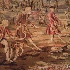 Varios objetos de Arte: MAGNIFICO Y ANTIGUIO TAPETE DE PARAEDE TAPECARIA SUJEITO DE CAZA MID 85X80. Lote 231950600