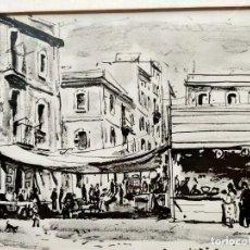 Varios objetos de Arte: JOSEP AMAT PAGÈS (BARCELONA, 1901–1991), REPRODUCCIÓN ENMARCADA MERCADO SANT FELIU DE GUIXOLS. Lote 232682800