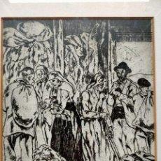 Varios objetos de Arte: JOSÉ GUTIÉRREZ SOLANA (MADRID 1986-1945) ESCENA COSTUMBRISTA REPRODUCCIÓN PERFECTAMENTE ENMARCADA. Lote 232683350