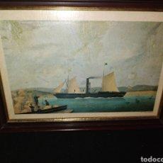 "Arte: CUADRO ANTIGUO BARCO A VAPOR "" EL MALLORQUIN"" 35X27 CM. Lote 233156490"
