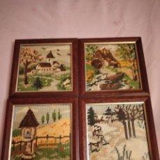 Varios objetos de Arte: LOTE DE 4 CUADROS BORDADOS A MANO LAS 4 ESTACIONES.. Lote 233449275