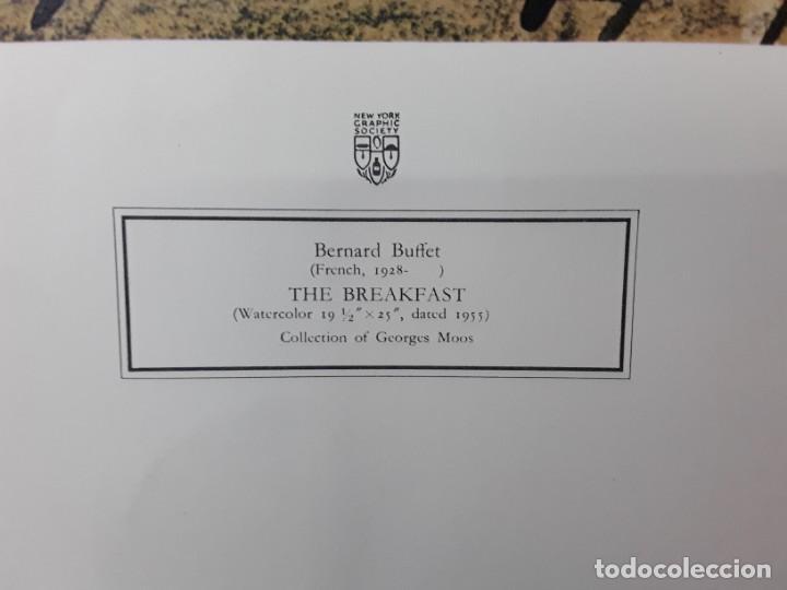 """Varios objetos de Arte: Bernard Buffet. """"El desayuno"""" 1955. Impresión litográfica. New York Graphic Society. 84 x 66 cm. - Foto 2 - 233898145"""