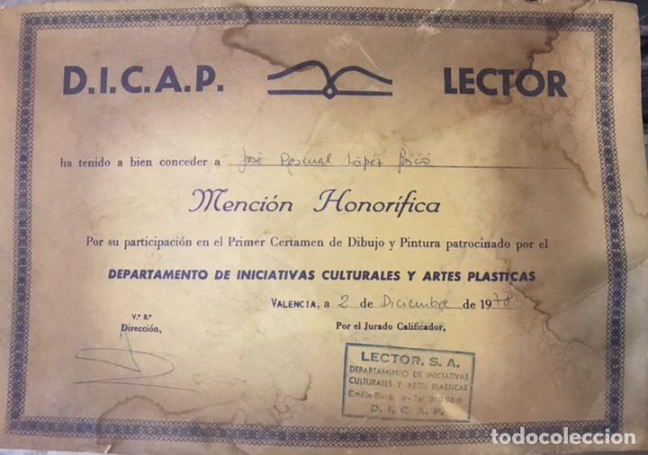 DIPLOMA DICAP LECTOR 1978 MENCION HONORIFICA INICIATIVAS CULTURALES ARTES PLASTICAS DIBUJO PINTURA (Arte - Varios Objetos de Arte)