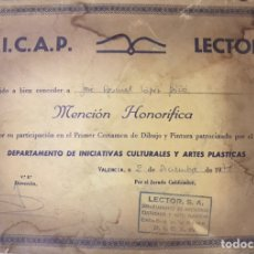 Varios objetos de Arte: DIPLOMA DICAP LECTOR 1978 MENCION HONORIFICA INICIATIVAS CULTURALES ARTES PLASTICAS DIBUJO PINTURA. Lote 234692525