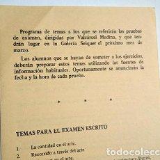 Varios objetos de Arte: ISIDORO VALCÁRCEL MEDINA. PROGRAMA DE TEMAS PARA EXAMEN. GALERÍA SEIQUER, 1975. Lote 235831690
