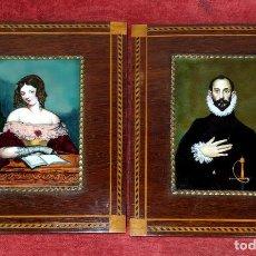 Varios objetos de Arte: PAREJA DE RETRATOS. ESMALTE SOBRE METAL. MARQUETERIA DE MADERA. ESPAÑA. SIGLO XIX-XX. Lote 236515205