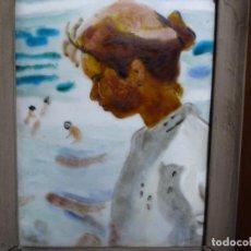 Varios objetos de Arte: ESMELTE DE SOROLLA EN MARCO CON FILO DE PLATA DE LEY Y MADERA.. Lote 236800555
