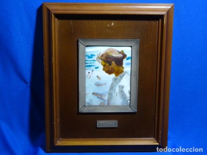 Varios objetos de Arte: ESMELTE DE SOROLLA EN MARCO CON FILO DE PLATA DE LEY Y MADERA. - Foto 3 - 236800555