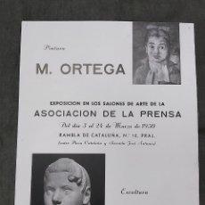 Varios objetos de Arte: CARTEL EXPOSICION PINTOR RAMON ORTEGA Y ESCULTOR RAMÓN SABI. ASOCIACION DE LA PRENSA 1950. Lote 238506045
