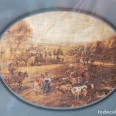 Varios objetos de Arte: LAMINA TELA ENMARCADA DE ESTAMPACION HOLANDA ANTIGUA. Lote 238691400