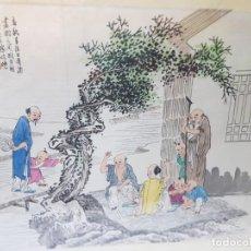 Varios objetos de Arte: LAMINA SEDA ENMARCADA DE ESTAMPACION CHINA SELLADA. Lote 238806735