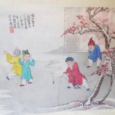 Varios objetos de Arte: LAMINA SEDA ENMARCADA DE ESTAMPACION CHINA SELLADA. Lote 238807420