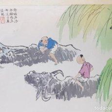 Varios objetos de Arte: LAMINA SEDA ENMARCADA DE ESTAMPACION CHINA SELLADA. Lote 238809350
