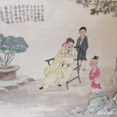 Varios objetos de Arte: LAMINA SEDA ENMARCADA DE ESTAMPACION CHINA SELLADA. Lote 238809665