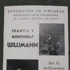 Varios objetos de Arte: CARTEL EXPOSICIÓN GALERIA PALLARES 1951. JUANITA Y MONTSERRAT WILLIMANN. Lote 239403815