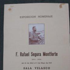 Varios objetos de Arte: CARTEL EXPOSICION RAFAEL SEGURA MONTFORTE. SALA VELASCO 1959. Lote 239404165