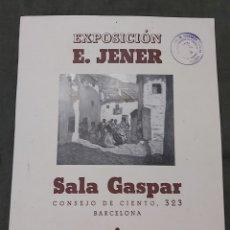 Varios objetos de Arte: CARTEL EXPOSICIÓN EDUARD JENER. SALA GASPAR 1942. SELLO CENSURA. Lote 239405540