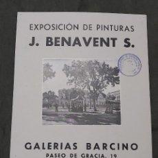 Varios objetos de Arte: CARTEL EXPOSICIÓN J. BENAVENT. GALERIAS BARCINO 1942. SELLO CENSURA. Lote 239406515