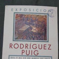 Varios objetos de Arte: CARTEL EXPOSICIÓN RODRIGUEZ PUIG. PICTORIA 1942. Lote 239406600
