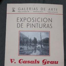 Varios objetos de Arte: CARTEL DE EXPODICIÓN V. CASALS GRAU 1953. GALERIAS DE ARTE BARCELONA. Lote 239692395