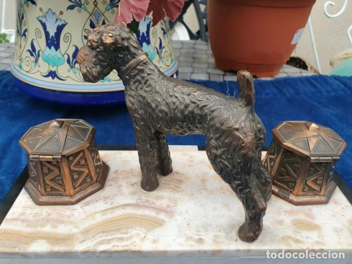 Varios objetos de Arte: Magnifica escribania doble antigua marmol y cobre escultura perro (Fox terrier) original 530,00 € - Foto 2 - 242220530