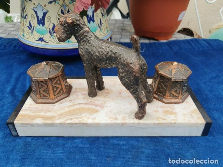 Varios objetos de Arte: Magnifica escribania doble antigua marmol y cobre escultura perro (Fox terrier) original 530,00 € - Foto 4 - 242220530