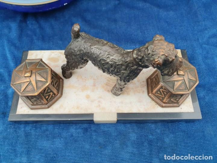 Varios objetos de Arte: Magnifica escribania doble antigua marmol y cobre escultura perro (Fox terrier) original 530,00 € - Foto 6 - 242220530