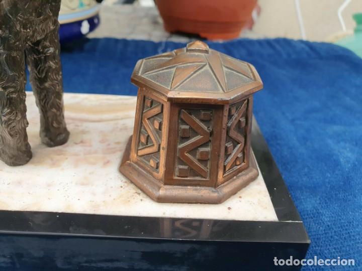 Varios objetos de Arte: Magnifica escribania doble antigua marmol y cobre escultura perro (Fox terrier) original 530,00 € - Foto 7 - 242220530