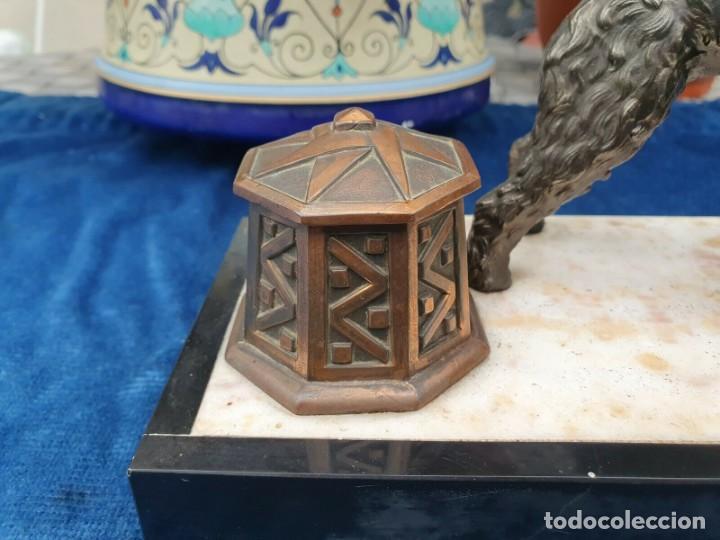 Varios objetos de Arte: Magnifica escribania doble antigua marmol y cobre escultura perro (Fox terrier) original 530,00 € - Foto 8 - 242220530