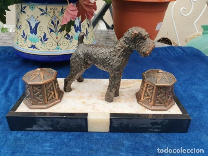 Varios objetos de Arte: Magnifica escribania doble antigua marmol y cobre escultura perro (Fox terrier) original 530,00 € - Foto 9 - 242220530