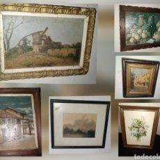 Art: GRAN LOTE DE 6 CUADROS ANTIGUOS. BODEGON, FLORES, CIUDAD, BOSQUE, PUEBLO. Lote 242386560