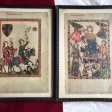Varios objetos de Arte: PAREJA DE LÁMINAS DE ORIGINALES GERMÁNICOS MEDIEVALES. ENMARCADOS. DIMENSIONES: 41X 31CM.. Lote 245533025
