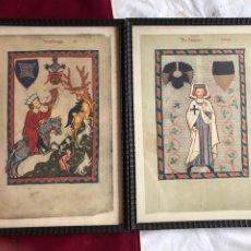 Varios objetos de Arte: PAREJA DE LÁMINAS DE ORIGINALES GERMÁNICOS MEDIEVALES. DIMENSIONES: 41X 31CM.. Lote 245534935