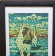 Varios objetos de Arte: CUADRO PESCADOR TROPICAL /// VINTAGE DECORACIÓN DIBUJO MARCO RETRO PINTURA ÓLEO ACUARELA FIGURA. Lote 130607342