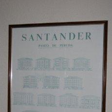 Varios objetos de Arte: PRECIOSO CARTEL CON LAS FACHADAS DEL PASEO DE PEREDA DE SANTANDER - J.I.GUTIERREZ LÓPEZ VÁZQUEZ. Lote 247510265
