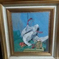 Varios objetos de Arte: ANTIGUO CUADRO PINTURA A LA AGUJA CACERIA FIRMA R. MUÑIZ 45X40CM.AÑO 1966 PRECIOSO MARCO.. Lote 247520035