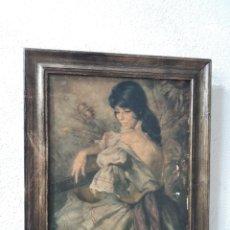 Varios objetos de Arte: CUADRO IMPRESO FRANCISCO RIBERA MUJER GITANA CON GUITARRA Y ESPIGA FLAMENCO. Lote 248719800