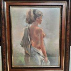 Varios objetos de Arte: LAMINA MUJER DESNUDO ENMARCADO CON CRISTAL 55 X 64. Lote 252124375