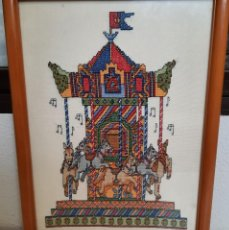 Varios objetos de Arte: TIO VIVO CABALLITOS EN PUNTO DE CRUZ CON CRISTAL 34 X 45 ENMARCADO. Lote 252127945