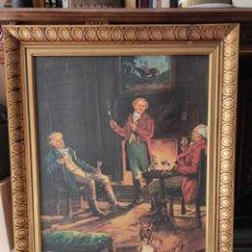 Varios objetos de Arte: IMPRESIÓN SOBRE LIENZO CON MARCO DE ÉPOCA 84X71CM. Lote 252359845