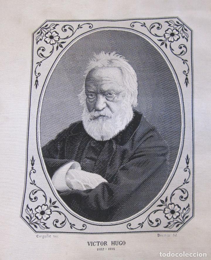 Varios objetos de Arte: TEJIDO JACQUARD. RETRATO DE VICTOR HUGO 1802-1885. Carquillat, Saint-étienne. DIBUJO DESCROIX 26X21 - Foto 2 - 252525925
