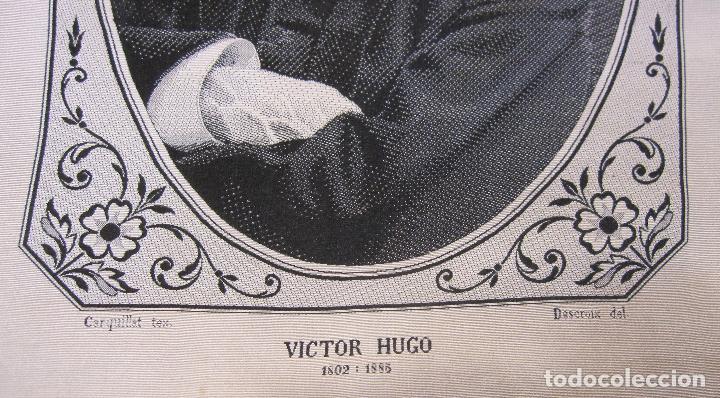 Varios objetos de Arte: TEJIDO JACQUARD. RETRATO DE VICTOR HUGO 1802-1885. Carquillat, Saint-étienne. DIBUJO DESCROIX 26X21 - Foto 5 - 252525925