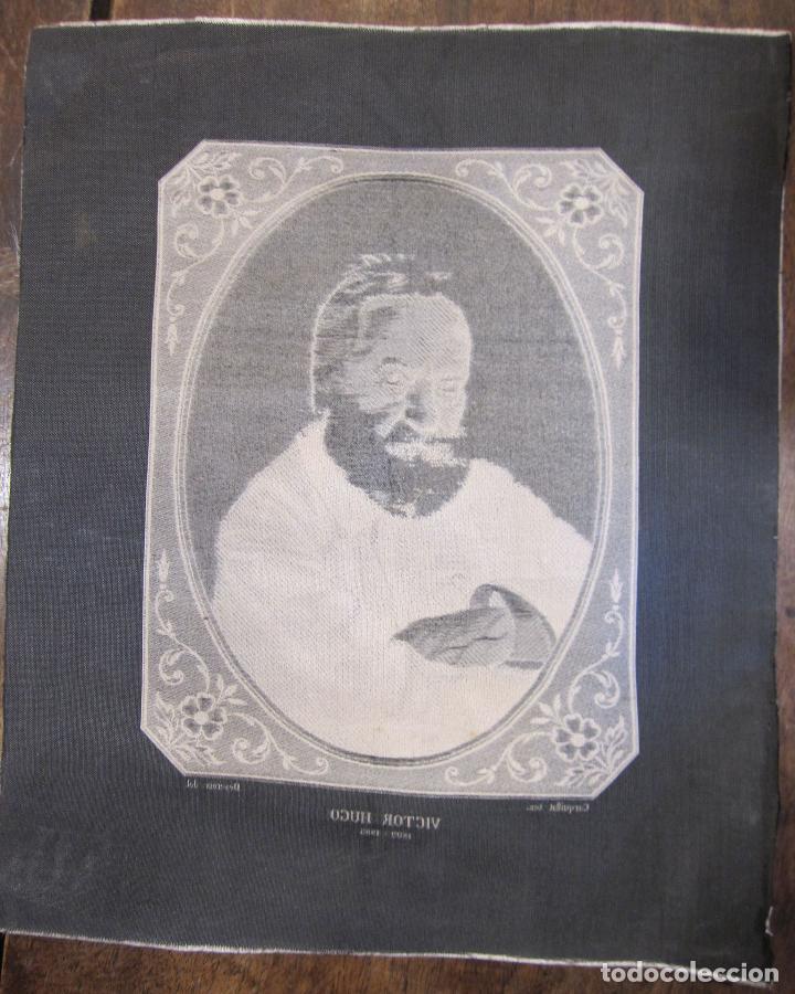 Varios objetos de Arte: TEJIDO JACQUARD. RETRATO DE VICTOR HUGO 1802-1885. Carquillat, Saint-étienne. DIBUJO DESCROIX 26X21 - Foto 8 - 252525925