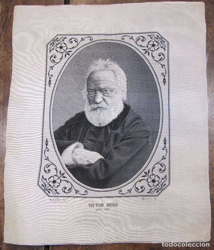 TEJIDO JACQUARD. RETRATO DE VICTOR HUGO 1802-1885. CARQUILLAT, SAINT-ÉTIENNE. DIBUJO DESCROIX 26X21 (Arte - Varios Objetos de Arte)