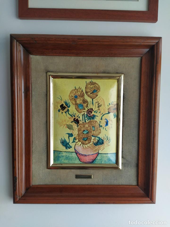 Varios objetos de Arte: CUADRO ESMALTADO VAN GOGH / LOS GIRASOLES. MARCO DE MADERA MIDE 39 CM x 44,5 CM - Foto 13 - 254003055