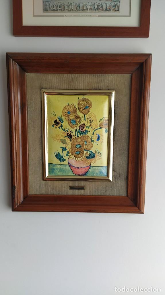 Varios objetos de Arte: CUADRO ESMALTADO VAN GOGH / LOS GIRASOLES. MARCO DE MADERA MIDE 39 CM x 44,5 CM - Foto 16 - 254003055